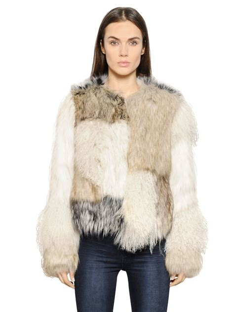 Patchwork Faux Fur Coat - lyst urbancode patchwork faux fur jacket in gray