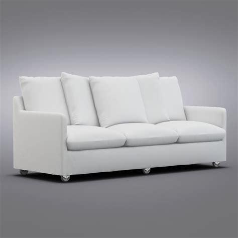 sofa with casters crate barrel catalina max