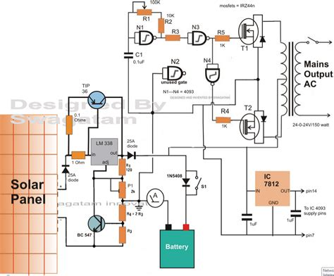 solar panels circuit diagram electronic circuit projects how to make a solar inverter