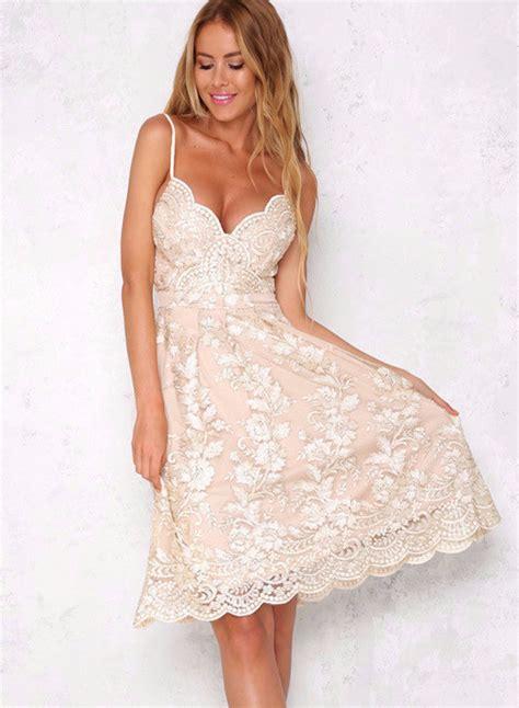 V Neck Spaghetti Lace Dress s spaghetti v neck hollow out lace dress