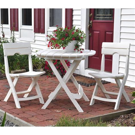 Adams Manufacturing Quik Fold White 3 Piece Patio Cafe Set White Patio Table And Chairs