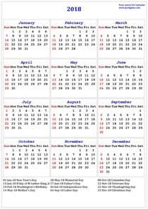 Calendar 2018 With Holidays Nz 2018 Calendar Printable Calendar 2018 Calendar In