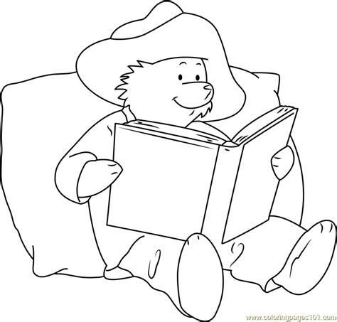 paddington bear reading a book coloring page free