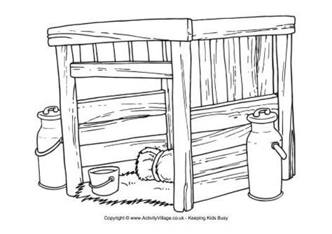 cow shed colouring page