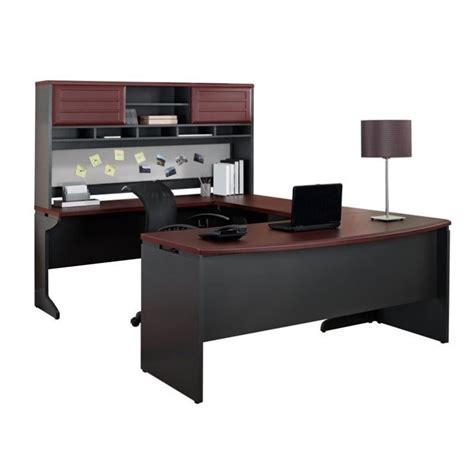 U Shaped Office Desks Altra Furniture Pursuit U Shaped Office Set In Cherry And Gray 9347096