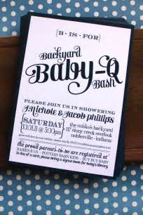 backyard baby q bash shower invitations available in navy coral an