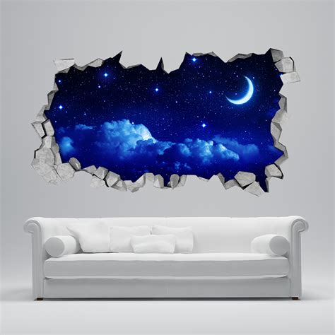 sternenhimmel mond tapeten 3d moonwallstickers - Tapete Sternenhimmel