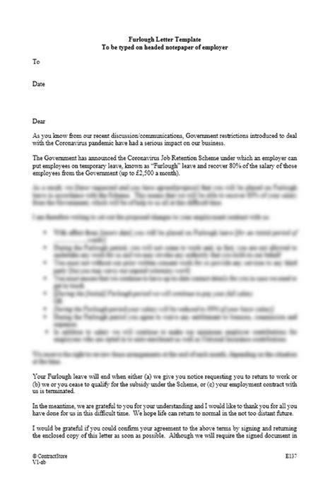 furlough letter template contractstore