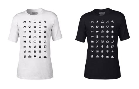 traveller t shirt with 40 icons lets you communicate in