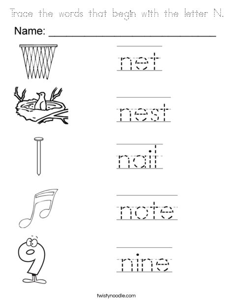 colors that start with n trace the words that begin with the letter n coloring page