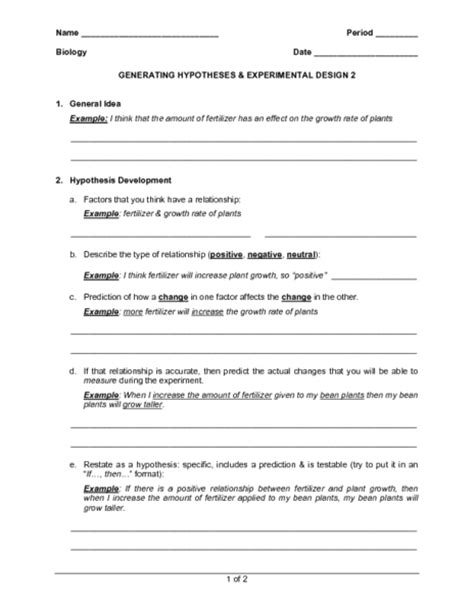 experimental design reference worksheet experimental design worksheet hunterhq free