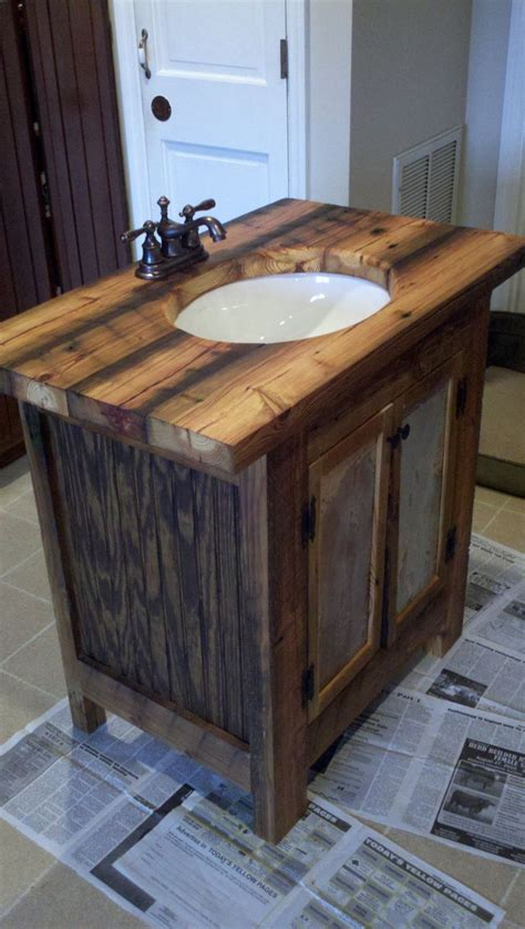 Wood Top Bathroom Vanity Rustic Bathroom Vanity Barn Wood Pine Undermount Sink 650 00 Via Etsy Home Rennovation
