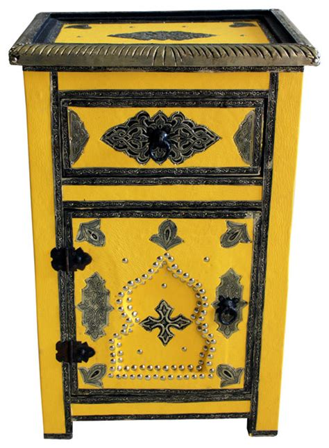 Yellow Metal Storage Cabinet Moroccan Metal And Leather Cabinet Yellow Traditional Storage Cabinets By Badia Design Inc