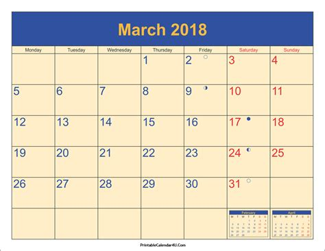 Calendar 2018 Printable March March 2018 Calendar Printable With Holidays Pdf And Jpg