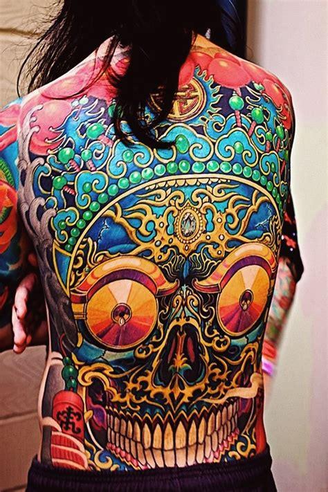 tattoo new school back ethnic skull new school tattoo idea on back best tattoo