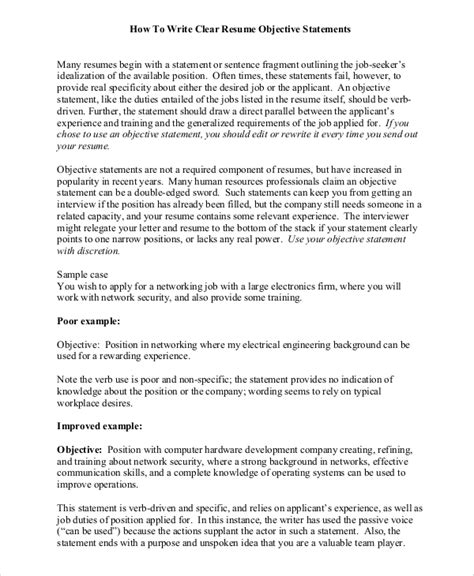 Objective Statement Resume by 8 Objective Statement Resume Sles Sle Templates