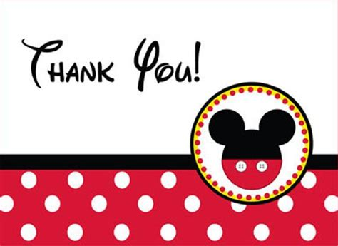 mickey mouse thank you card template mickey mouse thank you card