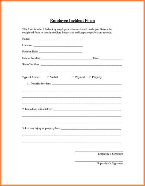 incident report sheet template 6 employee report form template progress report