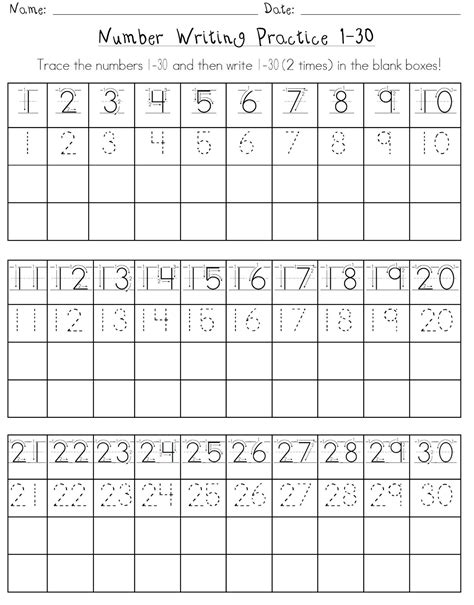 printable numbers exercise writing numbers 1 20 worksheets kindergarten worksheets