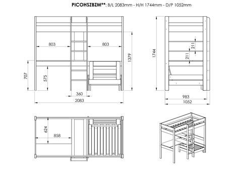 Lit Mezzanine Avec Bureau Et Fauteuil Alexis En Pin Massif Lit Mezzanine Avec Bureau