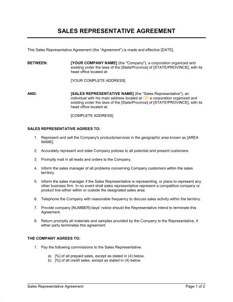sales rep contract template sales representative agreement template sle form