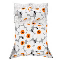 Poppy Comforter Set Marimekko Unikko Grey White Orange Percale Bedding