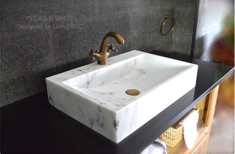 "24"" White Marble Bathroom vessel sink   faucet hole   PEGASUS WHITE"