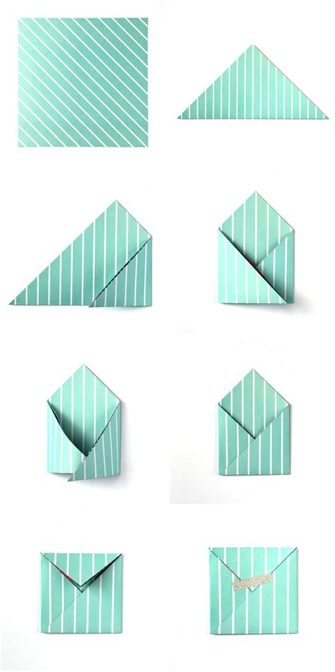 One Fold Origami - easy square origami envelopes gathering