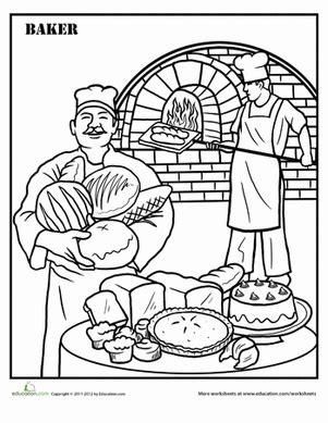 baker coloring pages preschool baking worksheet education com