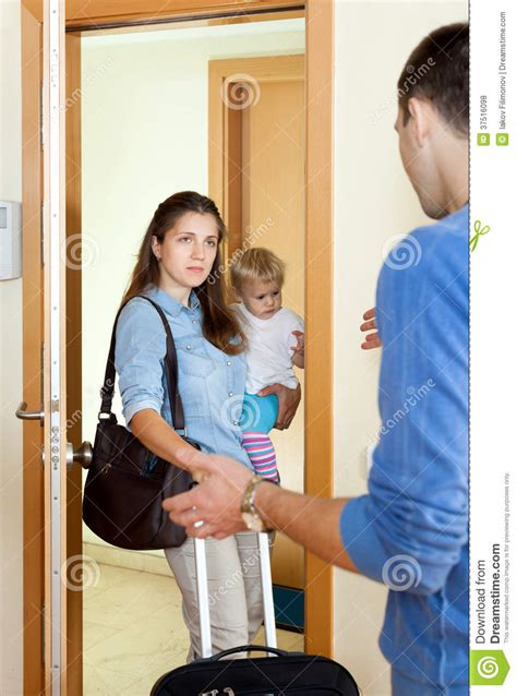 Family Intervened To Help Leave Husband by With Baby Leaving From Husband Royalty Free