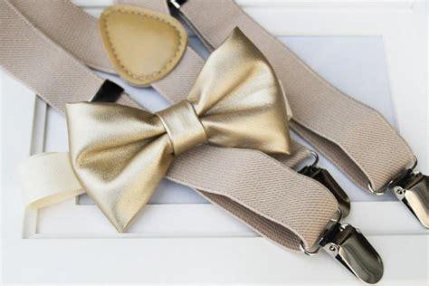 light metallic gold bow tie elastic suspender set