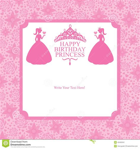 happy birthday princess card template birthday princess card design stock vector illustration