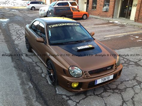 subaru wrapped metallic matte brown subaru impreza vinyl car wrap car