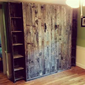 Murphy Bed Etsy Pallet Wood Murphy Bed With Side Cabinets By Oldhamwood
