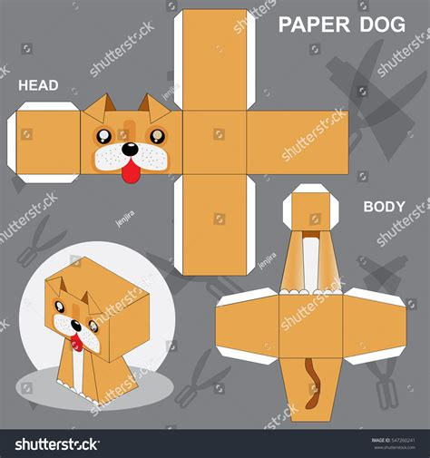dog paper craft template stock vector 547260241 shutterstock