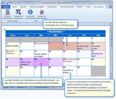 Calendario De Ovulacion Y Fertilidad Crear Un Calendario De Per 237 Odo Y Fertilidad En Word O Excel