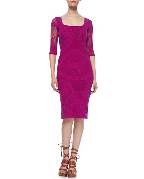 paul sheath jean paul gaultier 3 4 sleeve lace sheath dress in purple
