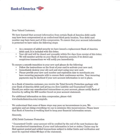 Credit Card Activation Letter To Bank Bank Of America Website May Been Compromised Issues New Debit Cards That S It Guys