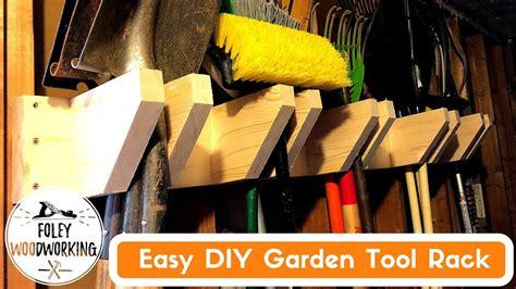 easy diy garden tools rack youtube