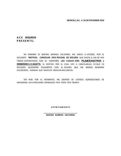 carta cancelacion banco cancelacion polizas seguro banamex dic 2010
