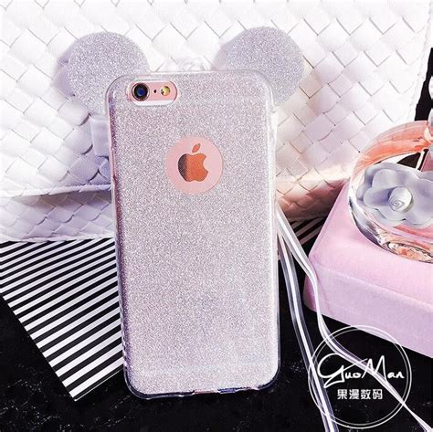 Casing Mickey Mouse I6 I6s 3d minnie mickey mouse ears silicone glitter gradient