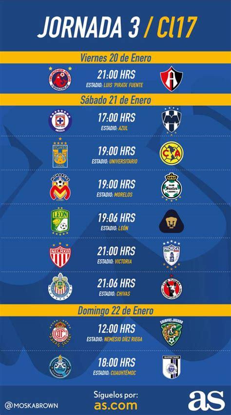 Calendario 2017 Futbol Fechas Y Horarios De La Jornada 3 Clausura 2017 De La