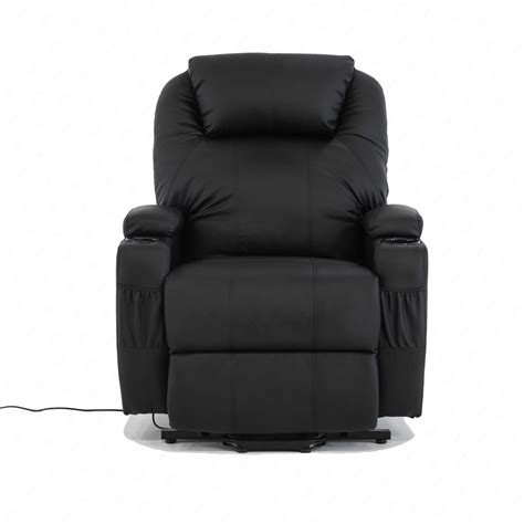 Leather Recliner With Cup Holder by Bn Bonded Leather Padded Electric Rise Cup Holder Recliner Armchair Sofa Black Ebay