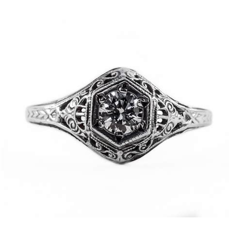 128bbr antique filigree ring for a 30ct to 40ct