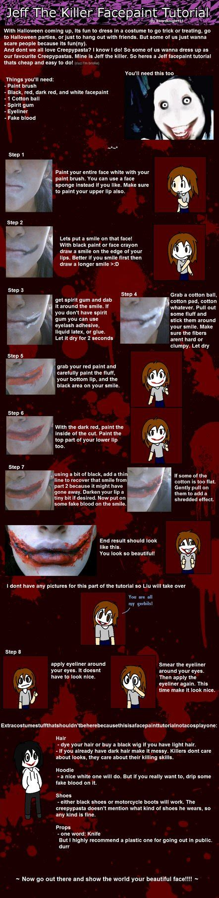 makeup tutorial jeff the killer epic jeff the killer facepaint tutorial by swordknight131