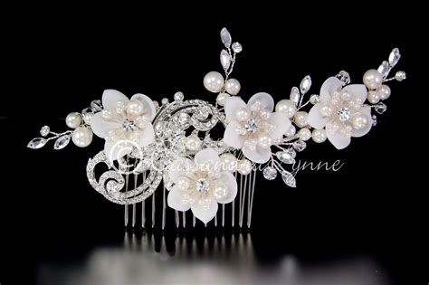 bridal headpiece pearls crystals and