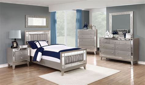 metallic bedroom furniture leighton metallic mercury youth panel bedroom set from