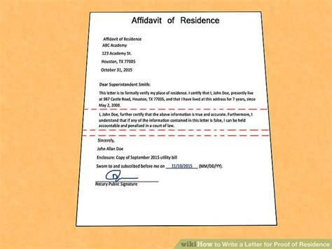 Confirmation Of Residency Letter