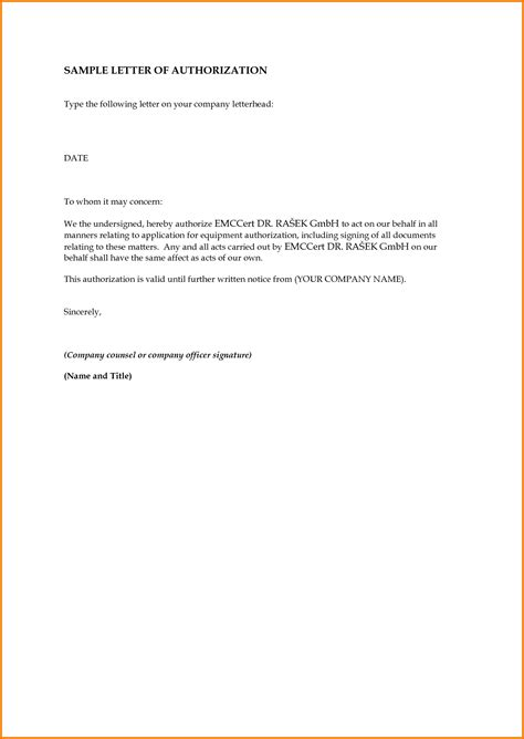 authorization letter to act on behalf of a company authorization letter sle to act on behalf