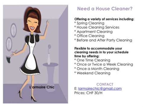 house cleaner in zurich switzerland cleaning lady